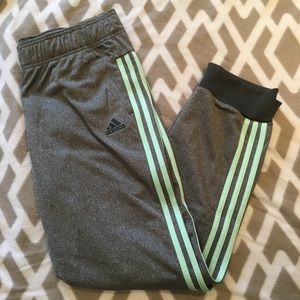 BRAND NEW ADIDAS sweats/joggers with teal stripes